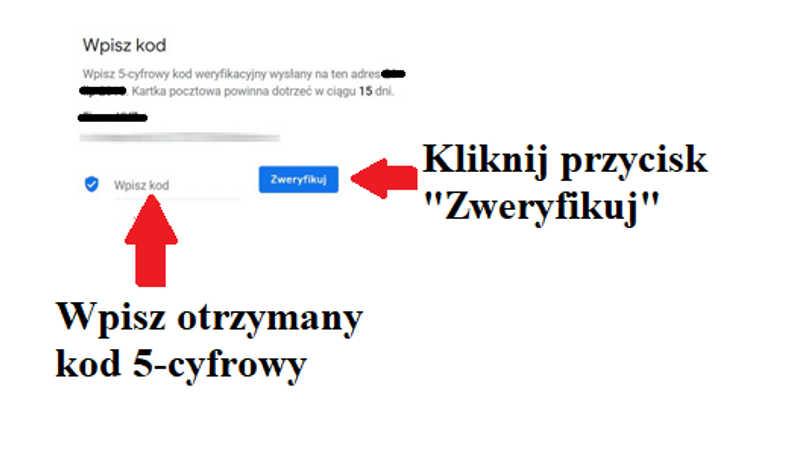 Weryfikowanie wizytówki Google