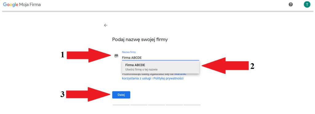 Podanie danych do wizytówki Google