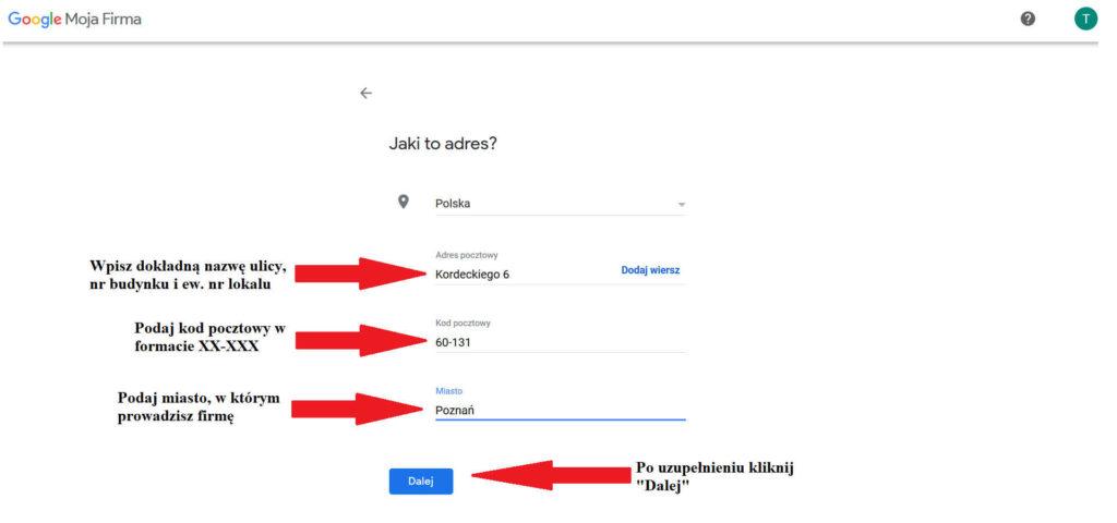 Dodawanie adresu do wiytówki Google