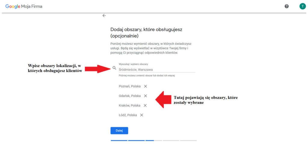Dodawanie obszaru działania firmy do wizytówki Google