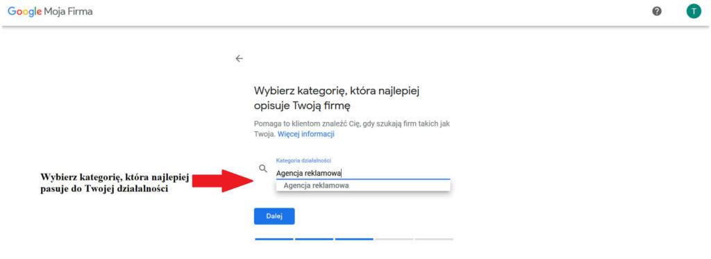 Dodawanie kategorii firmy do wizytówki Google