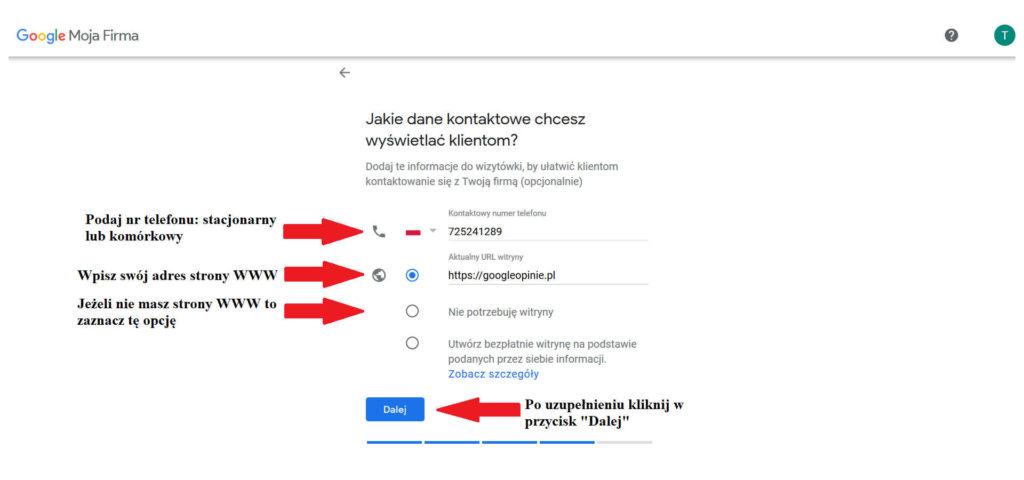 Dodawanie danych widocznych dla wizytówki Google