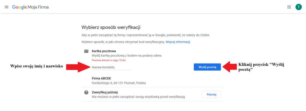 Wybór sposobu weryfikacji wizytówki Google